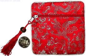 龍 宮廷龍コインケース レッドcoin purse 新品財布 小さい財布誕生日 使いやすい ギフトプレゼント オシャレコインケース レディース 小銭入れ男女兼用 威龍彩雲