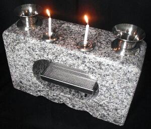 花立 香炉 墓石用白御影石 花立 一体型(ロウソク立付)