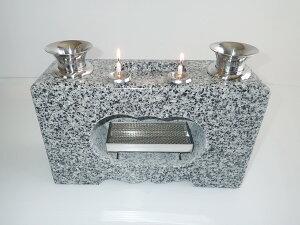 花立 香炉 墓石用供養石 花立 一体型(ロウソク立付)