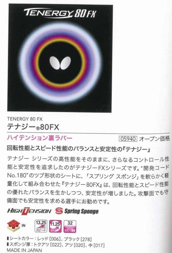 タマス 05940 卓球 エネルギー内蔵型裏ソフト  テナジー・80FX