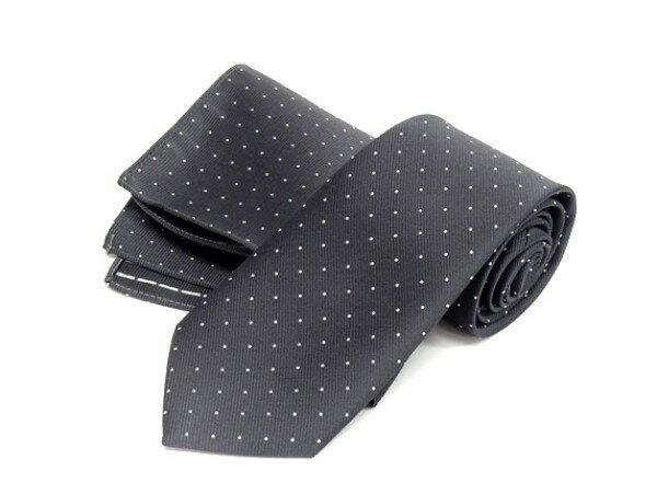 ドット柄ネクタイ ポケットチーフ付 濃グレー 甲州織 日本製 ポリエステル100% メール便可 FP KOJI YAMAMOTO KJD02