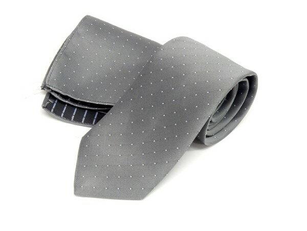 ドット柄ネクタイ ポケットチーフ付 薄グレー 甲州織 日本製 ポリエステル100% メール便可 FP KOJI YAMAMOTO KJD03