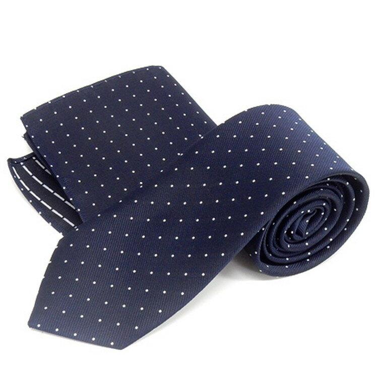 ドット柄ネクタイ ポケットチーフ付 濃紺 甲州織 日本製 ポリエステル100% メール便可 FP KOJI YAMAMOTO KJD05
