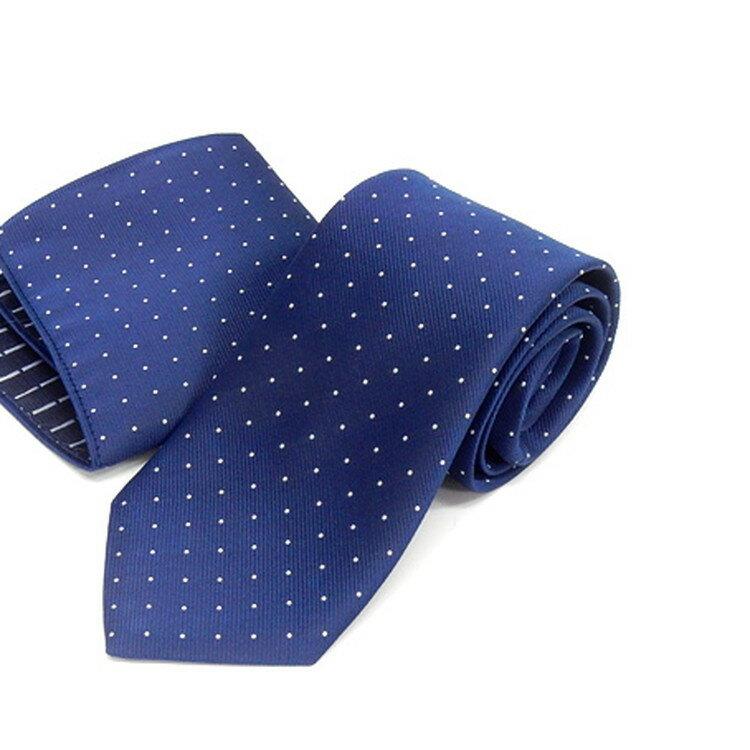 ドット柄ネクタイ ポケットチーフ付 中紺 甲州織 日本製 ポリエステル100% メール便可 FP KOJI YAMAMOTO KJD06