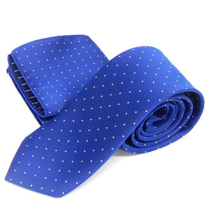ドット柄ネクタイ ポケットチーフ付 青 甲州織 日本製 ポリエステル100% メール便可 FP KOJI YAMAMOTO KJD07