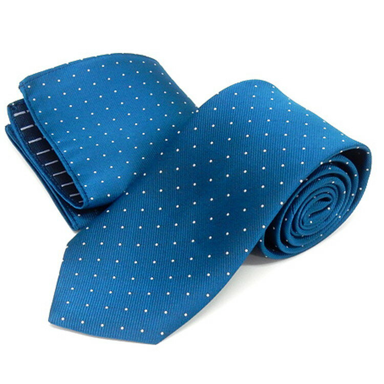 ドット柄ネクタイ ポケットチーフ付 青緑 甲州織 日本製 ポリエステル100% メール便可 FP KOJI YAMAMOTO KJD08