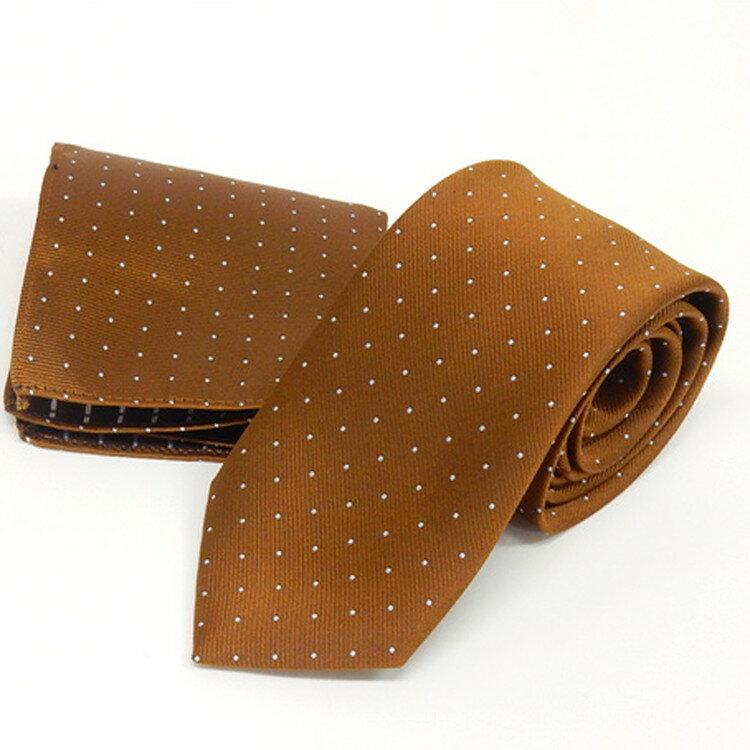 ドット柄ネクタイ ポケットチーフ付 金茶 甲州織 日本製 ポリエステル100% メール便可 FP KOJI YAMAMOTO KJD15