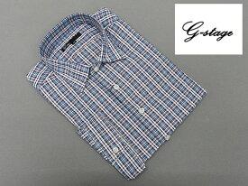 【g-stage】七分袖 コットン100% 紺×赤系チェック カジュアルシャツ gs687-202