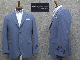 春夏物 [STANLEY BLACKER] スタンリーブラッカー 3釦段返りシングルジャケット ブルー系ギンガムチェック [AB体][BB体]