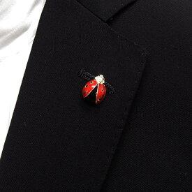 ラペルピン スワロフスキー てんとう虫 クリスタル色×オニキス色 メール便可 ACC120-2531R