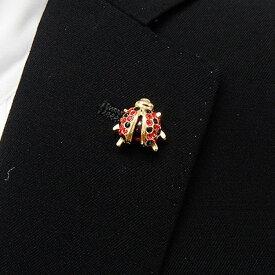 ラペルピン スワロフスキー てんとう虫 ルビー色×オニキス色×ルベライト色 メール便可 ACC120-3011G