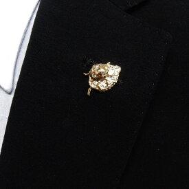 ラペルピン スワロフスキー 木の葉&てんとう虫 ゴールド クリスタル色 メール便可 ACC110-2532G