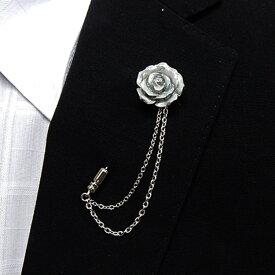 ラペルピン チェーン スワロフスキー 白薔薇 クリスタル色 メール便可 ACC120-3002W