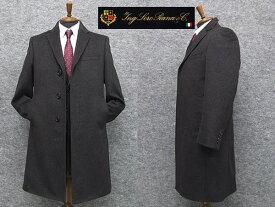 秋冬物 日本製 [ロロピアーナ] カシミヤ100% シングルチェスターコート [YA体〜AB体]対応 スタイリッシュタイプ 濃グレー メンズ LO-coat33