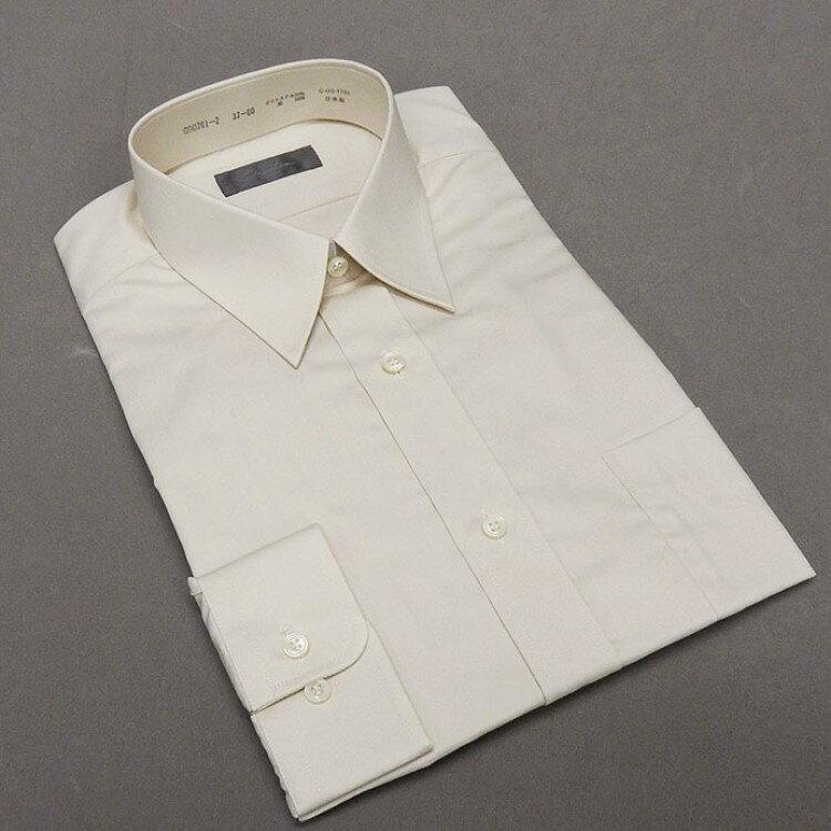 ☆訳あり ワイシャツ【新合繊】 薄ベージュ 綿50%  レギュラー衿 日本製 ドレスシャツ [小さいサイズ] GDD761