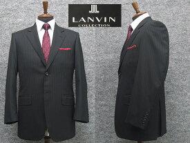 秋冬物 [LANVIN] ランバンオーダー生地使用 ベーシック2釦シングルスーツ 黒ストライプ [AB体]メンズ スーツ LV48306