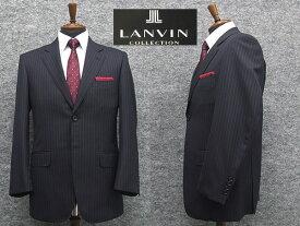 秋冬物 [LANVIN] ランバンオーダー生地使用 ベーシック2釦シングルスーツ 濃紺ストライプ [AB体]メンズ スーツ LV48307