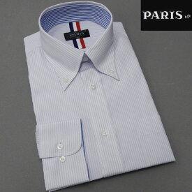 長袖ワイシャツ 白地×藤色 ストライプ セミロングポイントカラー ボタンダウン PARIS-16e 形態安定 HKP-B16