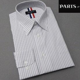 長袖ワイシャツ 白地×黒 ストライプ レギュラー PARIS-16e 形態安定 HKP-R13