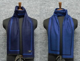 ◆マフラー PARIS16e リバーシブル 濃紺/裏:青 ヘリンボーン 平織り メンズ メール便可 akh03