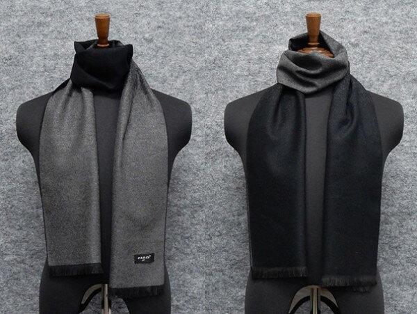 ◆マフラー PARIS16e リバーシブル 灰×黒/裏:黒×灰 グラデーション/無地 平織り メンズ メール便可 akh04