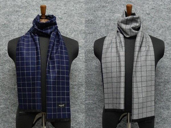 ◆マフラー PARIS16e リバーシブル 濃紺×灰/裏:灰×濃紺 格子 平織り メンズ メール便可 akh08