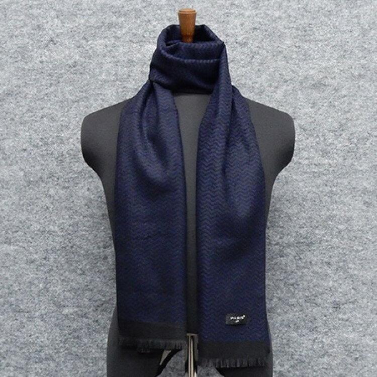◆マフラー PARIS16e 紺×黒 ジグザグ柄 平織り メンズ メール便可 akh12