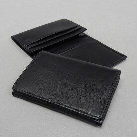 羊革/シープスキン 2つ折り/名刺入れ/カードケース 黒 訳あり CD500