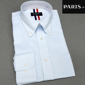 長袖ワイシャツ 薄青系 市松模様 セミロングポイントカラー ボタンダウン PARIS-16e 形態安定 S-3L HKP-A08