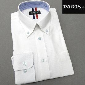 長袖ワイシャツ 白 ドビーチェック セミロングポイントカラー ボタンダウン PARIS-16e 形態安定 S-3L HKP-A12