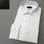 [ELLEcostumes]ワイシャツ長袖ワイドカラー白地×黒/ストライプ形態安定ドレスシャツEL302-485