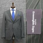 春夏物ライトグレー/縞[ErmenegildoZegna]ゼニアTOROPICAL使用トレンドスタイル2釦スーツ[A体][AB体]EZD73