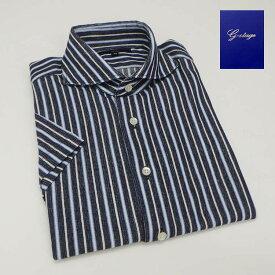 【g-stage】半袖 シャツ ネイビー系/ストライプ カッタウェイ カジュアルシャツ 日本製 gs610-010