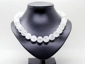 爆裂水晶 18mm クラック水晶 数珠 ネックレス  メンズ