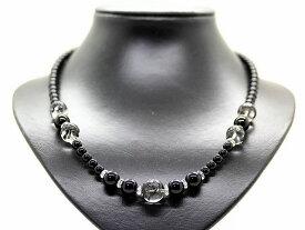 黒龍 水晶 14mm オニキス 天然石 数珠 ネックレス パワーストーン メンズ