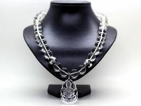 天然石 仏 ペンダント 水晶 16mm 銀彫り五本爪皇帝龍 オニキス 16mm 数珠 ネックレス メンズ