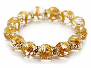 金彫り五本爪皇帝龍 水晶 16mm ゴールドロンデル 数珠 ブレスレット パワーストーン メンズ
