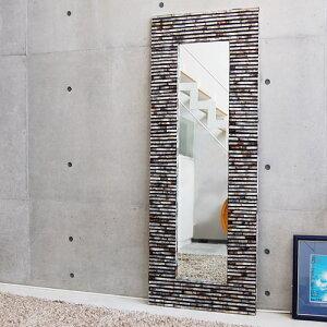 シェルミラーブリック160×60/鏡ミラー姿見全身壁掛け全身鏡全身姿見ワイドミラー角型玄関リビング廊下シェルおしゃれ癒しナチュラルモダンインテリアアジアンテイストバリハワイアンリゾートサロン美容室送料無料