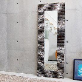 シェルミラーブリック 160×60/鏡 ミラー 姿見 全身 壁掛け 全身鏡 全身姿見 ワイドミラー 角型 玄関 リビング 廊下 シェル おしゃれ 癒し ナチュラル モダン インテリア アジアンテイスト バリ ハワイアン リゾート サロン 美容室