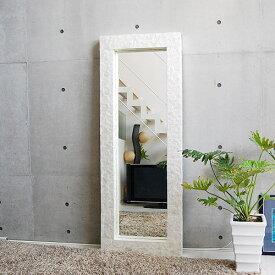 シェルミラー(ホワイト) 160×60/鏡 ミラー 姿見 全身 壁掛け 全身鏡 全身姿見 ワイドミラー 角型 玄関 リビング 廊下 シェル カピス貝 カピスシェル おしゃれ ナチュラル モダン インテリア アジアンテイスト バリ ハワイアン リゾート サロン 美容室