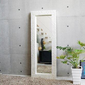 Beautiful shell frame resort mirror ◆ シェルミラー (white) 160 cm large mirror