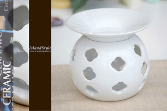 Modern Asian interiors and ceramic pottery/Asian Bali ◆ アロマオイルバーナー White gloss ◆ gift BOX with ♪ ◆ kevala ceramics (クバラセラミック)