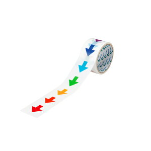 やじるし粘着テープ 655YJ-Rainbow-A リンレイテープ 30巻 50mm×10m 養生用ポリエステルクロステープ 注意喚起, 養生テープ 新型コロナウイルス対策 感染症対策支援,規制,誘導,イベント,整列,サイ