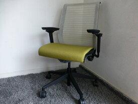 ■スチールケース シンクチェア3Dニットオリーブ色【中古】【中古オフィス家具】