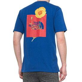 ノースフェイス Tシャツ メンズ ボックスロゴ バックプリント ブルー ボトルソース 半袖Tシャツ Bottle Source Box T-Shirt Short Sleeve