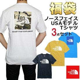 ノースフェイス Tシャツ 福袋 メンズ 3枚セット USAモデル THE North Face 半袖Tシャツ 3点セット 送料無料 メンズ ブランド 福袋 取寄