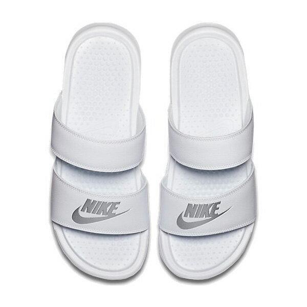 NIKE ナイキ サンダル レディース ベナッシ ホワイト シルバー デュオ ウルトラ スライド Nike Women's Benassi Duo Ultra Slide White Metallic Silver 【コンビニ受取対応商品】