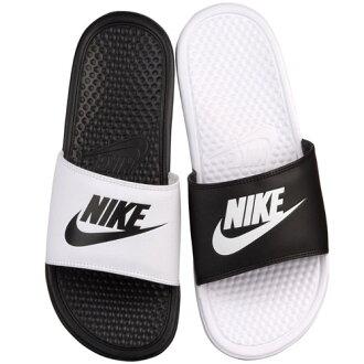 耐克耐克 Benassi 凉鞋不匹配中性白色黑色耐克男装 Benassi JDI 不匹配滑黑色白色 02P28Sep16