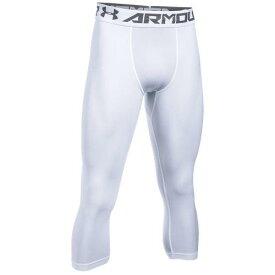 【エントリーでポイント5倍】アンダーアーマー メンズ HG アーマー 2.0 3/4 コンプレッション タイツ Under Armour Men's HG Armour 2.0 3/4 Compression Tights White Graphite