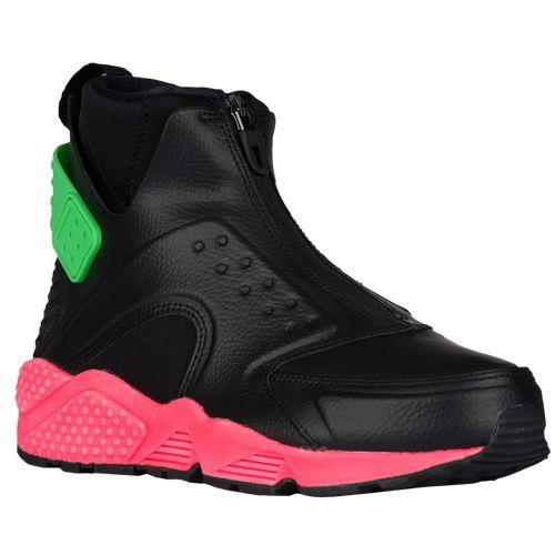 (取寄)ナイキ レディース エア ハラチ ラン ミッド Nike Women's Air Huarache Run Mid Black Black Hot Punch Electro Green